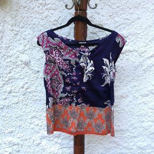 Odille Anthropologie motif short sleeve blouse